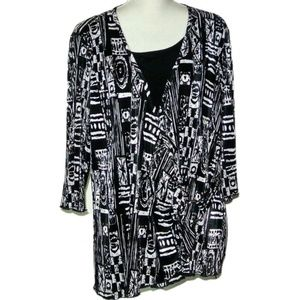 Brittany Black Woman Black & White Blouse Size 2X